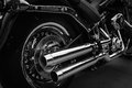 Motorcyle chrome dual exhaust motorcycle thunder Royalty Free Stock Images