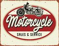 Motorcyle Service Repair Vintage Tin Sign sales service