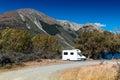 Motorhome camper at Lake Pearson / Moana Rua Wildlife Refuge, New Zealand Royalty Free Stock Photo