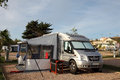 Motorhome on a camping site Royalty Free Stock Photo