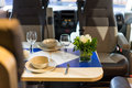 Motorhome interior of a dining table Royalty Free Stock Image
