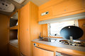 Motorhome interior of a wide angle shot Royalty Free Stock Images
