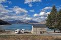 Motorhome parking by lakeside at Lake Tekapo, South Island of New Zealand Royalty Free Stock Photo