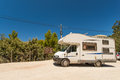 Motorhome on road Stock Photo