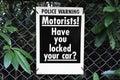 Motorists locked car security police warning