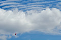Motorized glider in the clouds sky Royalty Free Stock Image