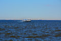 Motorship Meteor on the Gulf of Finland, St. Petersburg, Russia Royalty Free Stock Photo