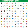 100 motorsport icons set, cartoon style
