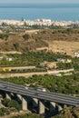 Motorway bridge spanish from distance Royalty Free Stock Photo