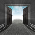 Motorway through doorway with sky and flare illustration Stock Images