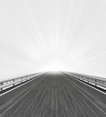 Motorway straight view with white horizon flare illustration Stock Photography