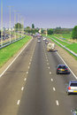 Motorway traffic freeway three lanes with not too much Royalty Free Stock Photos