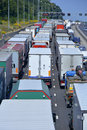 Motorway traffic jam gridlocked queues after an accident on four lane Stock Photo