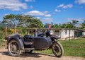 Motrobike sidecar in vinales cuba old mtorbike and Royalty Free Stock Photography