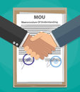 Mou memorandum of understanding handshake two cartoon businessman on legal document contract papers after agreement vector Stock Photos