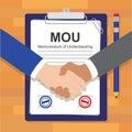 Mou memorandum of understanding legal document agreement stamp vector illustration Stock Photos