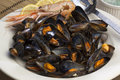 Moules marinieres mussels probably the most common and internationally recognizable recipe includes white wine shallots Royalty Free Stock Images