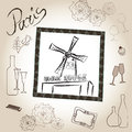Moulin rouge illustration set love paris frame vintage collection french cafe symbol hand drawn picture in with design elements Royalty Free Stock Photos