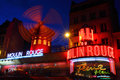 Moulin rouge paris at night france Royalty Free Stock Photo