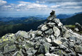 Mound of granite stones in the mountains