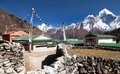 Mount Ama Dablam and Khumjung village near Namche bazar Royalty Free Stock Photo