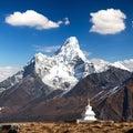 Mount Ama Dablam with stupa near Pangboche village Royalty Free Stock Photo