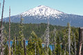 Mount bachelor from elk lake as seen to the east across central oregon cascade range Stock Photography