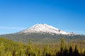 Mount bachelor near bend oregon in the early summer with a lot of snow still on the top Stock Images