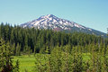 Mount bachelor is seen here from the parking lot near todd lake in the central oregon cascades Royalty Free Stock Photography