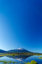 Mount bachelor and sky being reflected in a lake with most of the image being taken up by beautiful blue Stock Image