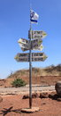 Mount Bental, Distance and Direction Signs Royalty Free Stock Photo