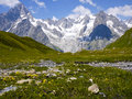 The mount blanc from val ferret alps mountains italy landscaoe of Royalty Free Stock Photography