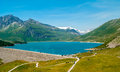 Mount cenis lake in the alps Stock Image