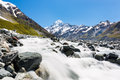 Mount cook and hooker valley track view from the onto the mountain the river Royalty Free Stock Photo