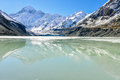 Mount cook reflection in aoraki mount cook national park new ze the of the zealand Stock Image