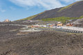 Mount Etna with car parking for tourists visiting the vulcano, Sicily Royalty Free Stock Photo
