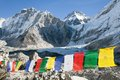 Mount Everest base camp with buddhist prayer flags Royalty Free Stock Photo
