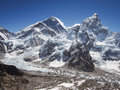 Mount everest and nuptse seen from kala patthar in nepal the khumbu icefall Royalty Free Stock Photos