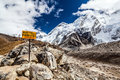 Mount everest wegweiser Stockfoto