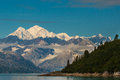 Mount fairweather summer view of from glacier bay Royalty Free Stock Photos