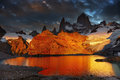 Mount fitz roy patagonia argentina laguna de los tres and dramatical sunrise Royalty Free Stock Photo