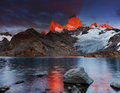 Mount fitz roy patagonia argentina laguna de los tres and dramatical sunrise Royalty Free Stock Image