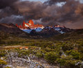 Mount fitz roy at sunrise los glaciares national park patagonia argentina Royalty Free Stock Photo