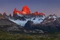 Mount fitz roy at sunrise patagonia argentina alpenglow first rays of los glaciares national park Stock Photos