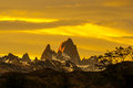 Mount fitz roy sunset behind in los glaciers national park argentina Royalty Free Stock Photos