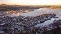 Mount Fløyen morning view to Bergen town, Norway Royalty Free Stock Photo