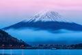 Mount Fuji at dusk near Lake Kawaguchi in Yamanashi Prefecture, Royalty Free Stock Photo