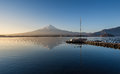 Mount Fuji in the early morning with reflection on the lake kawa Royalty Free Stock Photo