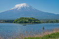 Mount Fuji and fisherman Royalty Free Stock Photo