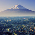 Mount Fuji. Fujiyama. Aerial view with cityspace surreal shot. Royalty Free Stock Photo